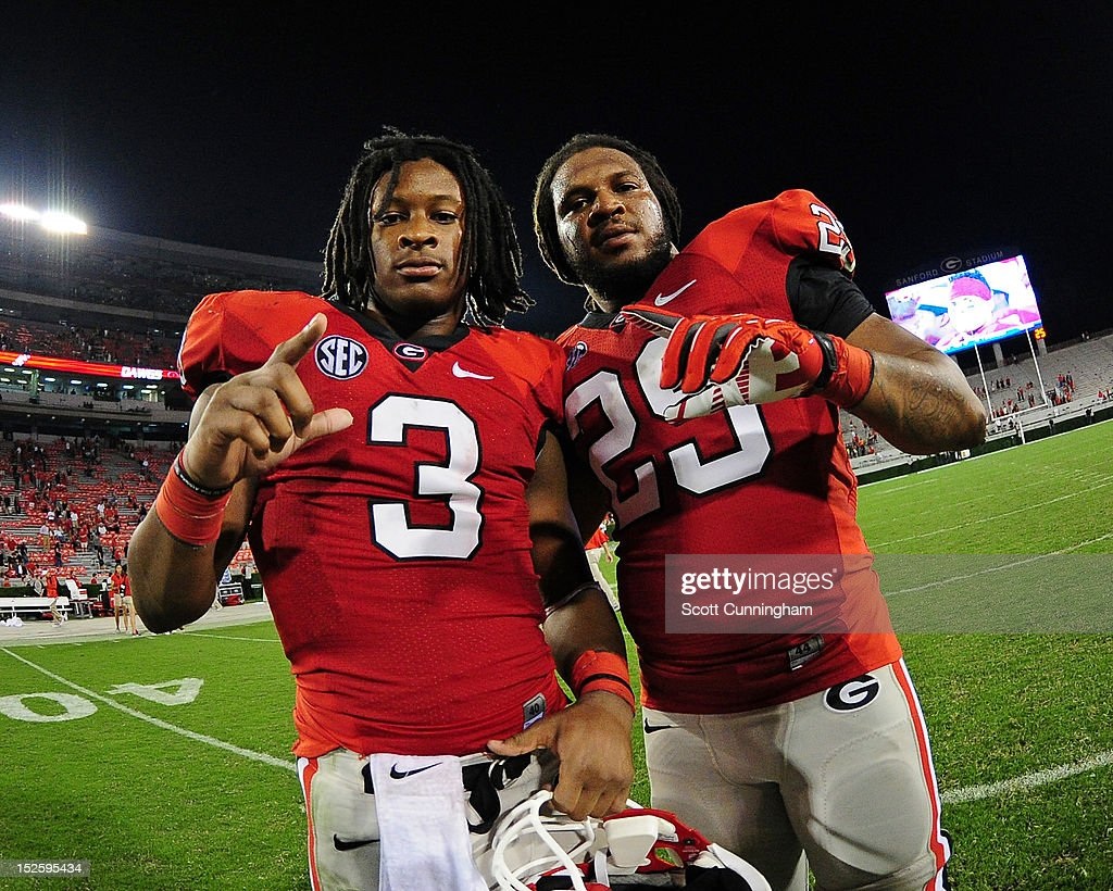 <a gi-track='captionPersonalityLinkClicked' href=/galleries/search?phrase=Todd+Gurley&family=editorial&specificpeople=9688396 ng-click='$event.stopPropagation()'>Todd Gurley</a> #3 and <a gi-track='captionPersonalityLinkClicked' href=/galleries/search?phrase=Jarvis+Jones&family=editorial&specificpeople=6236463 ng-click='$event.stopPropagation()'>Jarvis Jones</a> #29 of the Georgia Bulldogs celebrate after the game against the Vanderbilt Commodores at Sanford Stadium on September 22, 2012 in Athens, Georgia.