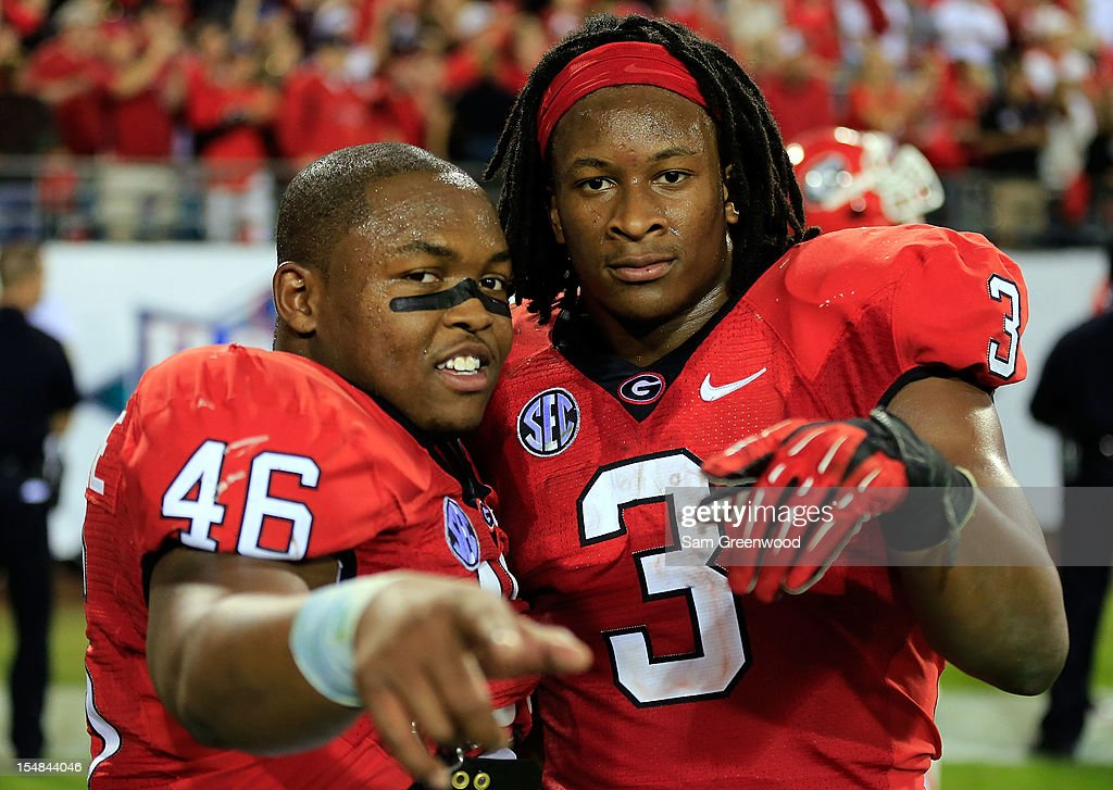 <a gi-track='captionPersonalityLinkClicked' href=/galleries/search?phrase=Todd+Gurley&family=editorial&specificpeople=9688396 ng-click='$event.stopPropagation()'>Todd Gurley</a> #3 of the Georgia Bulldogs and Alexander Ogletree #46 celebrate following the game against the Florida Gators at EverBank Field on October 27, 2012 in Jacksonville, Florida.