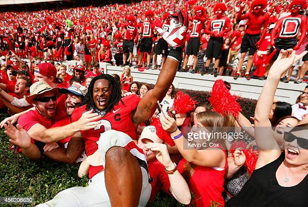 Todd Gurley of the Georgia Bulldogs celebrates their 3532 over the Tennessee Volunteers at Sanford Stadium on September 27 2014 in Athens Georgia