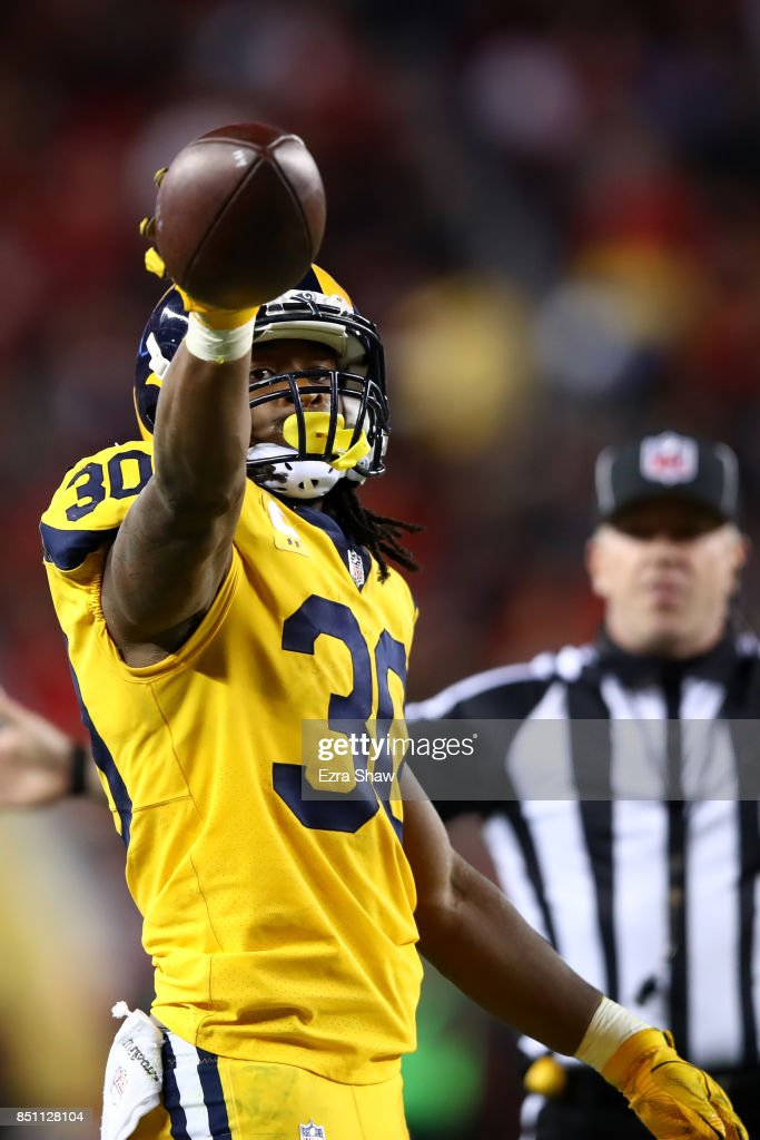 Todd Gurley #30 of the Los Angeles Rams reacts after a run against the San Francisco 49ers during their NFL game at Levi's Stadium on September 21, 2017 in Santa Clara, California.