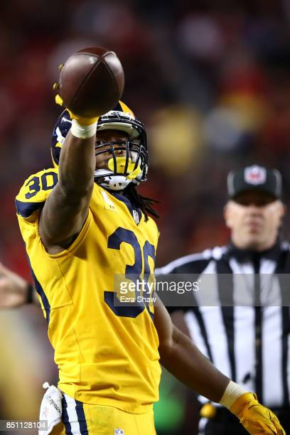 Todd Gurley of the Los Angeles Rams reacts after a run against the San Francisco 49ers during their NFL game at Levi's Stadium on September 21 2017...