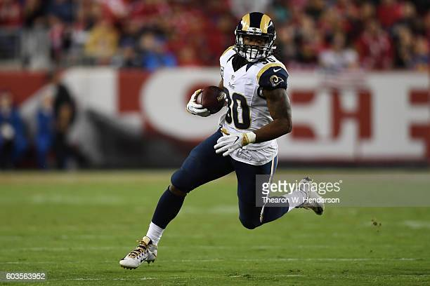 Todd Gurley of the Los Angeles Rams rushes with the ball against the San Francisco 49ers during their NFL game at Levi's Stadium on September 12 2016...