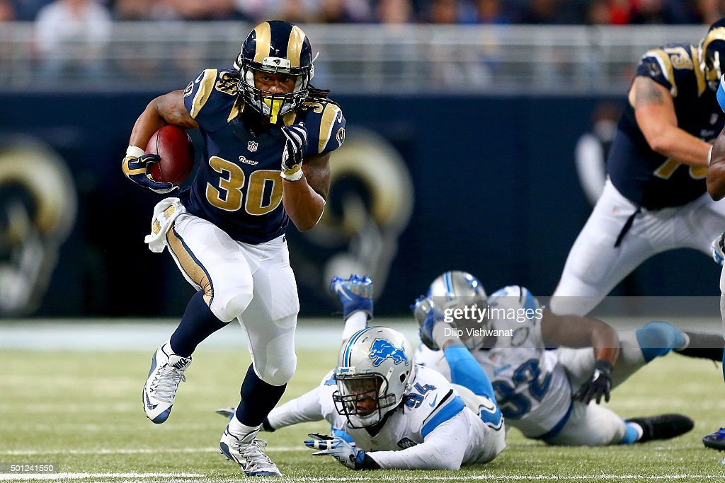 Todd Gurley #30 of the St. Louis Rams carries the ball in the third quarter against the Detroit Lions at the Edward Jones Dome on December 13, 2015 in St. Louis, Missouri.