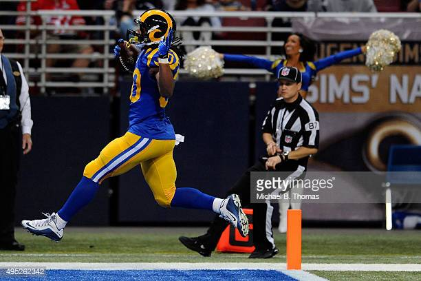 Todd Gurley of the St Louis Rams scores a touchdown in the second quarter against the San Francisco 49ers at the Edward Jones Dome on November 1 2015...