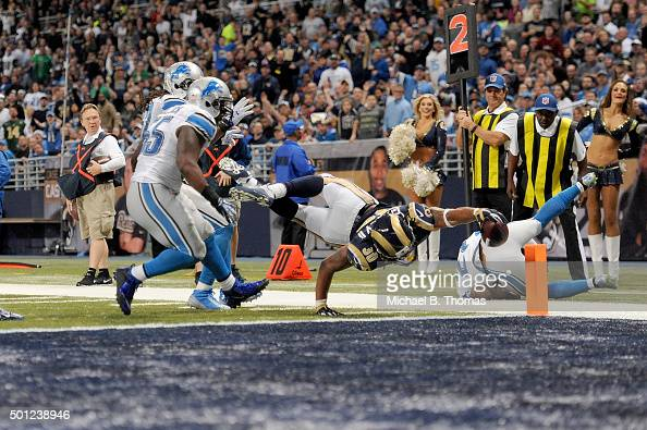 Todd Gurley of the St Louis Rams scores a touchdown in the third quarter against the Detroit Lions at the Edward Jones Dome on December 13 2015 in St...