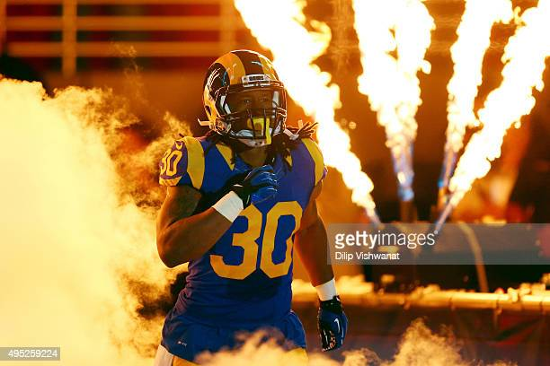 Todd Gurley of the St Louis Rams takes to the field during introductions before a game against the San Francisco 49ers at the Edward Jones Dome on...
