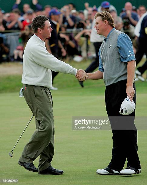 Todd Hamilton of the USA is congratulated by Ernie Els of South Africa on the 18th green after winning the 133rd Open Championship after a playoff at...