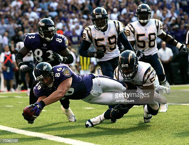 Todd Heap of the Baltimore Ravens lunges for the end zone to score the gamewinning touchdown against the San Diego Chargers October 1 2006 at MT Bank...