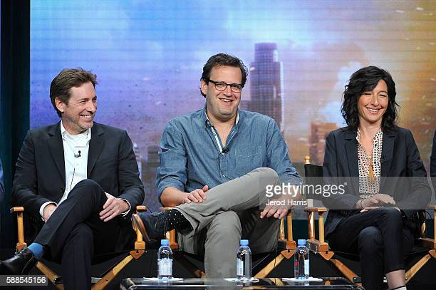 Todd Helbing Andrew Kreisberg and Ali Adler speak onstage during the CW portion of the 2016 Television Critics Association Summer Tour at The Beverly...