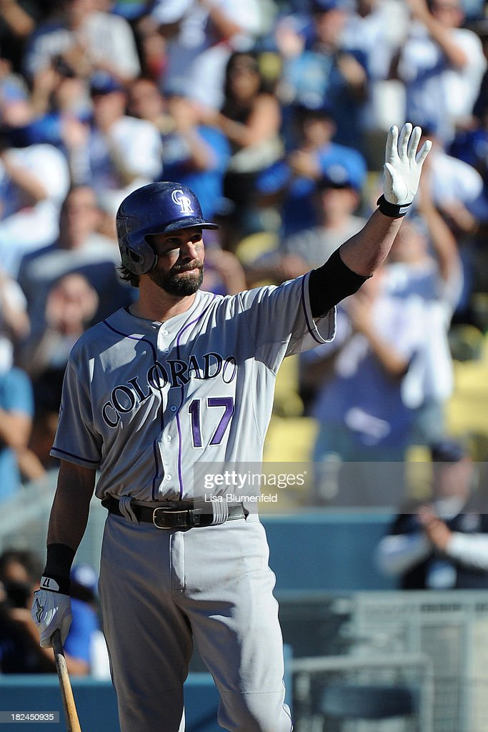 <a gi-track='captionPersonalityLinkClicked' href=/galleries/search?phrase=Todd+Helton&family=editorial&specificpeople=200735 ng-click='$event.stopPropagation()'>Todd Helton</a> #17 of the Colorado Rockies acknowledges the crowd in the ninth inning against the Los Angeles Dodgers at Dodger Stadium on September 29, 2013 in Los Angeles, California. Helton is retiring at the ens of the 2013 season.