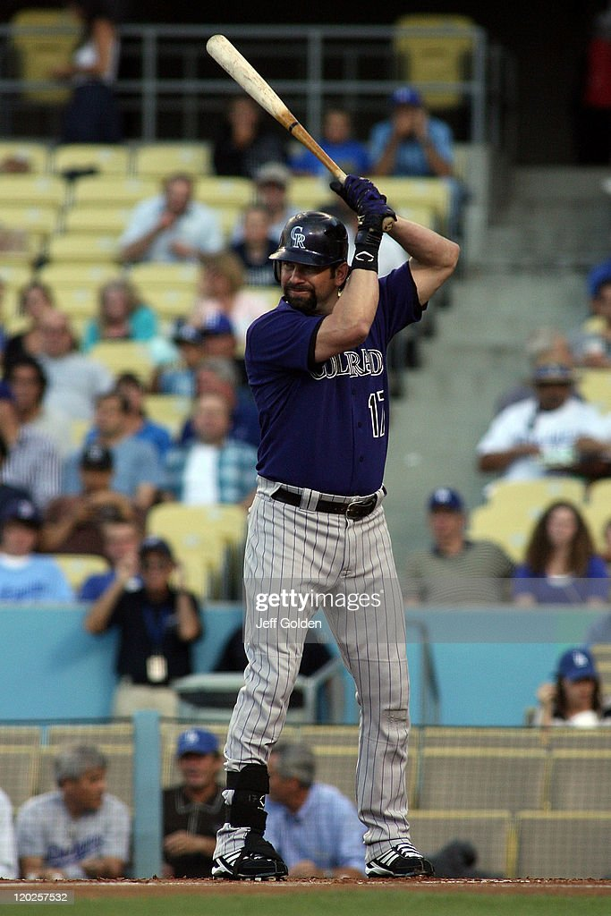 <a gi-track='captionPersonalityLinkClicked' href=/galleries/search?phrase=Todd+Helton&family=editorial&specificpeople=200735 ng-click='$event.stopPropagation()'>Todd Helton</a> #17 of the Colorado Rockies bats against the Los Angeles Dodgers at Dodger Stadium on July 25, 2011 in Los Angeles, California.