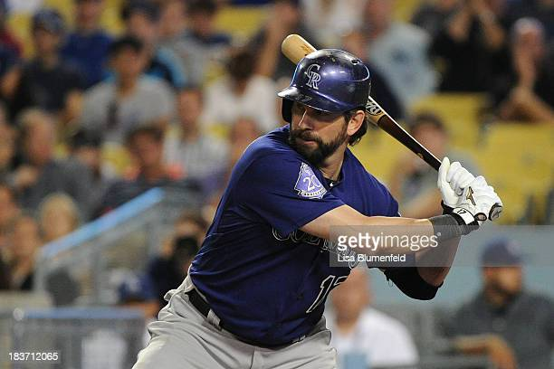 Todd Helton of the Colorado Rockies bats against the Los Angeles Dodgers at Dodger Stadium on September 28 2013 in Los Angeles California