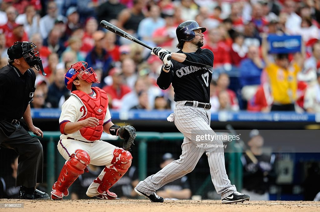 <a gi-track='captionPersonalityLinkClicked' href=/galleries/search?phrase=Todd+Helton&family=editorial&specificpeople=200735 ng-click='$event.stopPropagation()'>Todd Helton</a> #17 of the Colorado Rockies bats against the Philadelphia Phillies in Game One of the NLDS during the 2009 MLB Playoffs at Citizens Bank Park on October 7, 2009 in Philadelphia, Pennsylvania.