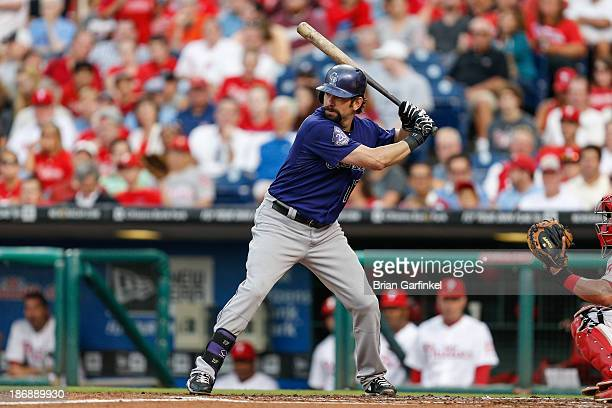 Todd Helton of the Colorado Rockies bats during the game against the Philadelphia Phillies at Citizens Bank Park on August 19 2013 in Philadelphia...