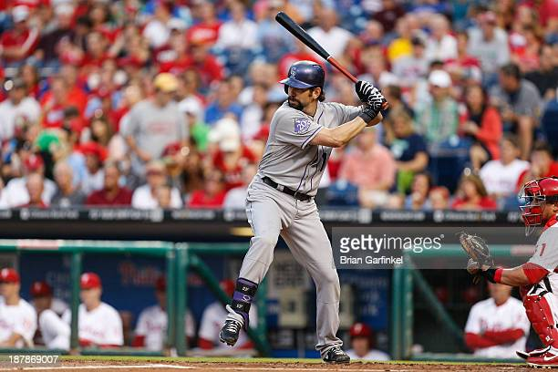Todd Helton of the Colorado Rockies bats during the game against the Philadelphia Phillies at Citizens Bank Park on August 22 2013 in Philadelphia...