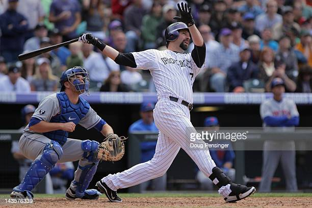 Todd Helton of the Colorado Rockies hits a pinch hit grand slam homer run off of relief pitcher Tim Byrdak of the New York Mets to tie the score 44...