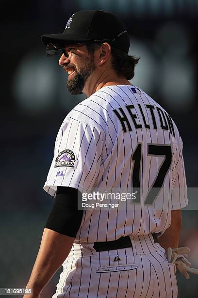 Todd Helton of the Colorado Rockies plays defense against the St Louis Cardinals at Coors Field on September 19 2013 in Denver Colorado