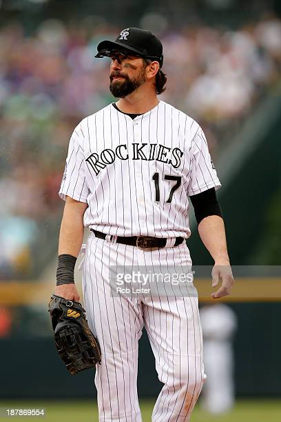 Todd Helton of the Colorado Rockies plays first base during the game against the Arizona Diamondbacks at Coors Field on September 22 2013 in Denver...
