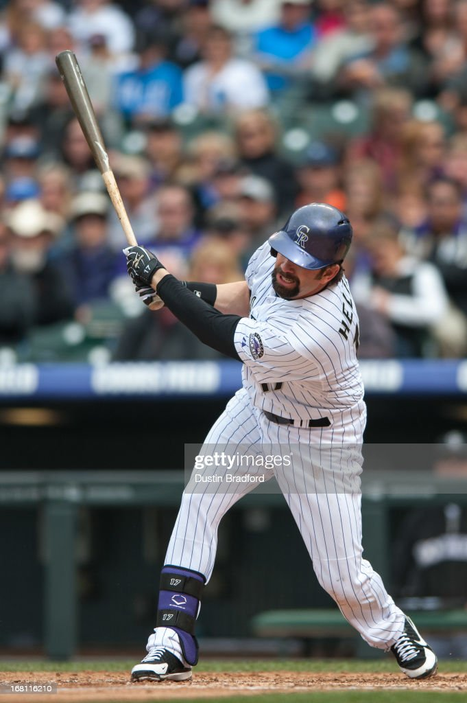 <a gi-track='captionPersonalityLinkClicked' href=/galleries/search?phrase=Todd+Helton&family=editorial&specificpeople=200735 ng-click='$event.stopPropagation()'>Todd Helton</a> #17 of the Colorado Rockies singles in the fourth inning of a game against the Tampa Bay Rays at Coors Field on May 5, 2013 in Denver, Colorado.