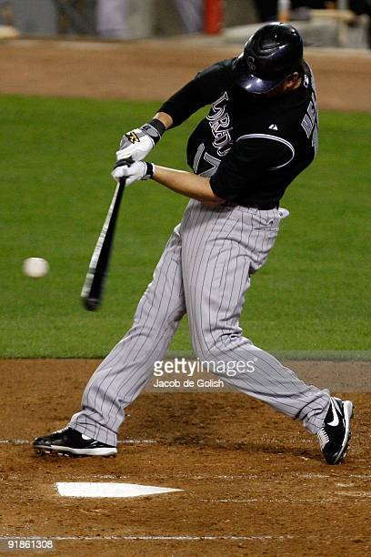 Todd Helton of the Colorodo Rockies hits against the Los Angeles Dodgers at Dodger Stadium on October 2 2009 in Los Angeles California
