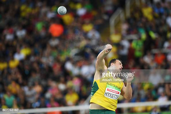 Todd Hodgetts of Australia competes in the men's shot put F20 on day 3 of the Rio 2016 Paralympic Games at Olympic stadium on September 10 2016 in...