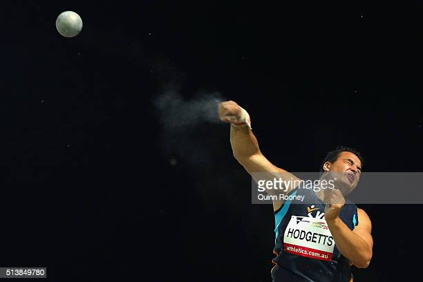 Todd Hodgetts of Australia throws in the Men's Shot Put during the IAAF World Challenge at Olympic Park on March 5 2016 in Melbourne Australia