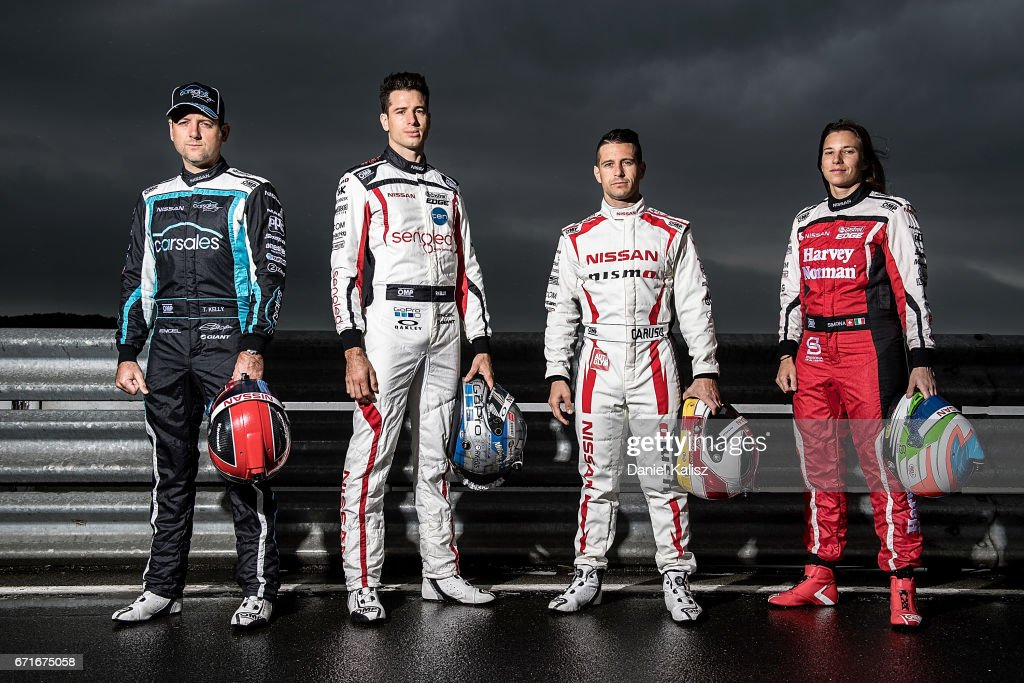 Todd Kelly driver of the #7 Carsales Racing Nissan Altima, Rick Kelly driver of the #15 Sengled Racing Nissan Altima, Michael Caruso driver of the #23 Nissan Motorsport Nissan Altima and Simona de Silvestro driver of the #78 Team Harvey Norman Nissan Altima pose for a photo during a portrait session during the Phillip Island 500, which is part of the Supercars Championship at Phillip Island Grand Prix Circuit on April 22, 2017 in Phillip Island, Australia.