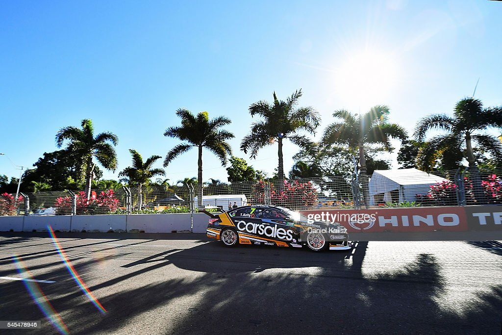 Todd Kelly drives the Carsales Racing Nissan Altima during practice ahead of the Townsville 400 at Reid Park on July 8 2016 in Townsville Australia