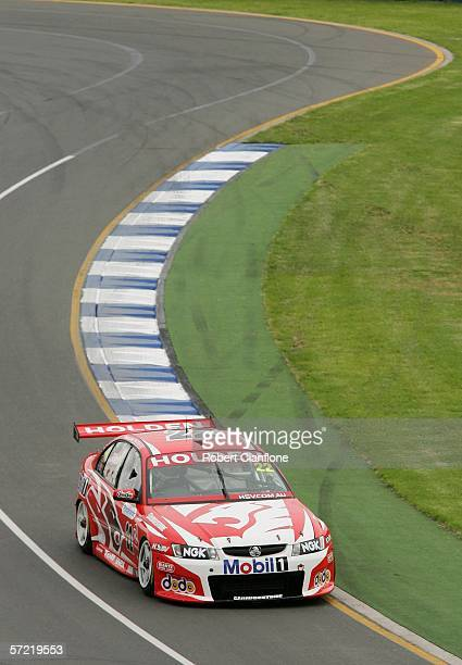 Todd Kelly of the Holden racing team in action during the V8 Supercars race one a support race for the Australian Formula One Grand Prix at the...