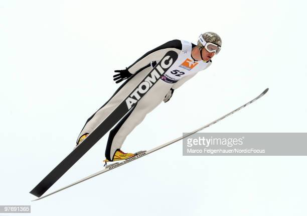 Todd Lodwick of the USA competes in the Gundersen Ski Jumping HS 134 event during day two of the FIS Nordic Combined World Cup on March 14 2010 in...