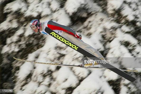 Todd Lodwick of USA in action during the men's Nordic Combined Ski Jumping in the FIS Nordic Combined World Championships in ChauxNeuve France on...