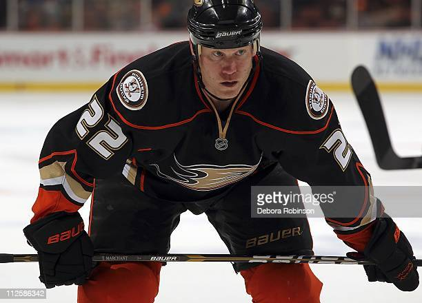 Todd Marchant of the Anaheim Ducks prepares for a face off against the Nashville Predators in Game One of the Western Conference Quarterfinals during...