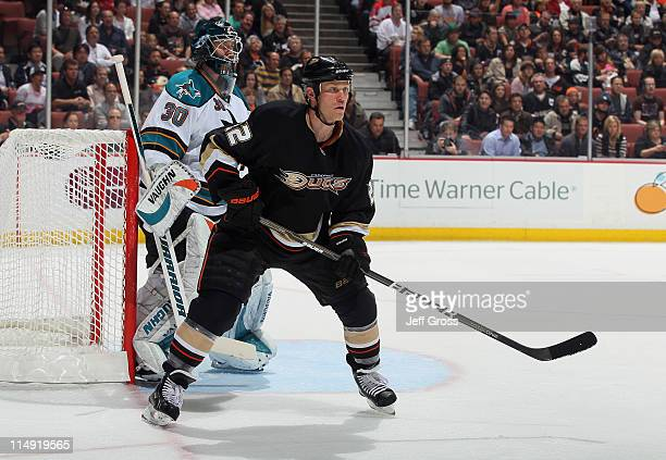 Todd Marchant of the Anaheim Ducks sets up in front of goaltender Antero Niittymaki of the San Jose Sharks at Honda Center on April 6 2011 in Anaheim...