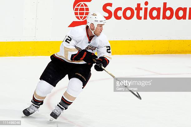 Todd Marchant of the Anaheim Ducks skates against the Calgary Flames on March 30 2011 at the Scotiabank Saddledome in Calgary Alberta Canada