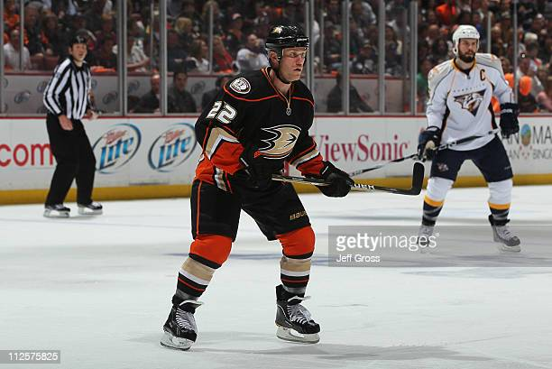 Todd Marchant of the Anaheim Ducks skates against the Nashville Predators in Game Two of the Western Conference Quarterfinals during the 2011 NHL...