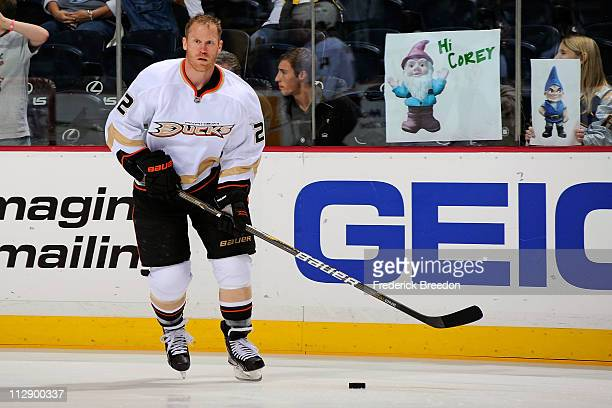Todd Marchant of the Anaheim Ducks skates against the Nashville Predators in Game Four of the Western Conference Quarterfinals during the 2011 NHL...