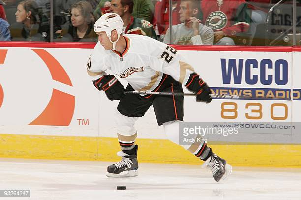 Todd Marchant of the Anaheim Ducks takes a slap shot against the Minnesota Wild during the game at the Xcel Energy Center on October 6 2009 in Saint...