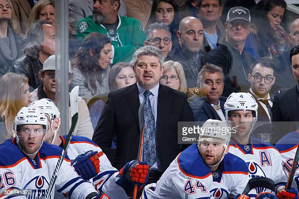 Todd McLellan head coach of the Edmonton Oilers watches the action from the bench against the Dallas Stars at the American Airlines Center on January...