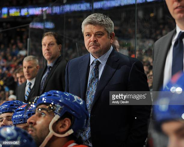 Todd McLellan of the Edmonton Oilers watches play from the bench during a game against the Dallas Stars on December 4 2015 at Rexall Place in...