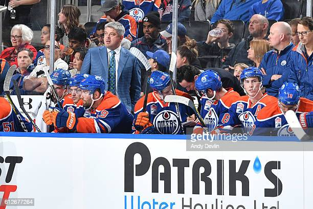 Todd McLellan of the Edmonton Oilers watches play from the bench during a preseason game against the Anaheim Ducks on October 4 2016 at Rogers Place...