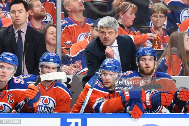 Todd McLellan of the Edmonton Oilers watches play from the bench in Game Five of the Western Conference First Round during the 2017 NHL Stanley Cup...