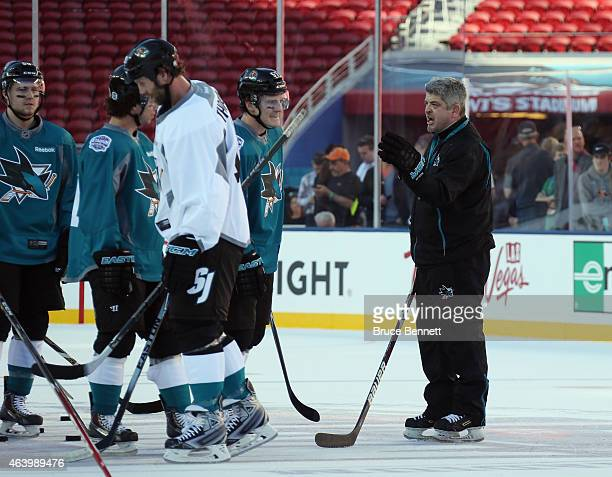 Todd McLellan of the San Jose Sharks conducts practice at Levi's Stadium on February 20 2015 in Santa Clara California The practice day was held the...