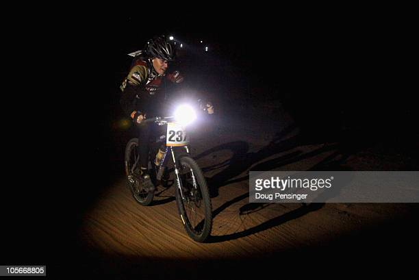 Todd Moyer of Eagle Colorado takes a lap for his team in the men's sport class in the 24 Hours of Moab Mountain Bike Race on October 9 2010 in Moab...