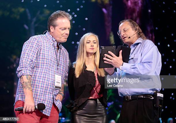 Todd Newton and Alex Wehrley rehearse onstage during the 2015 Miss USA Pageant Rehearsals at The Baton Rouge River Center on July 11 2015 in Baton...