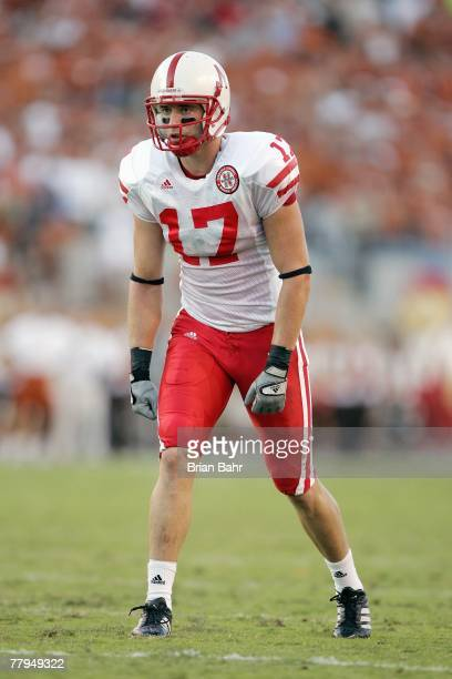 Todd Peterson of the Nebraska Cornhuskers gets ready on the field during the game against the Texas Longhorns at Darrell K RoyalTexas Memorial...