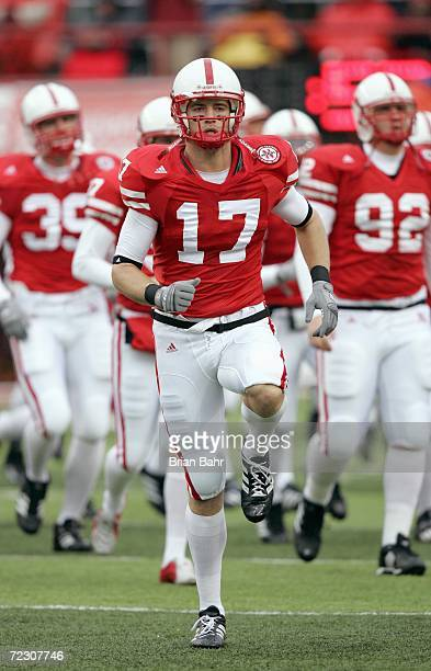 Todd Peterson of the Nebraska Cornhuskers runs onto the field before the game against the Texas Longhorns on October 21 2006 at Memorial Stadium in...