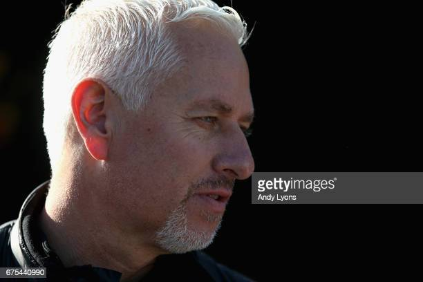Todd Pletcher the trainer of Always Dreaming Patch and Tapwirit talks to the media in the barn area during the morning training for the Kentucky...