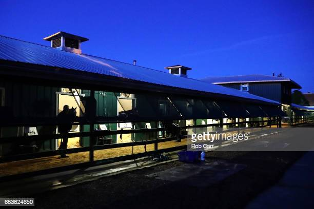 Todd Pletcher trainer of Kentucky Derby winner Always Dreaming walks the shed row before taking his horse out for training in the upcoming Preakness...