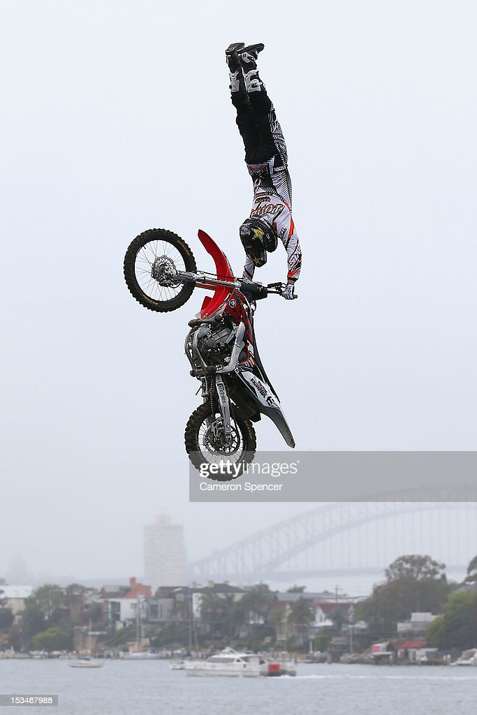 Todd Potter of the United States jumps during training for the Red Bull X-Fighters Moto Cross at Cockatoo Island on October 6, 2012 in Sydney, Australia.