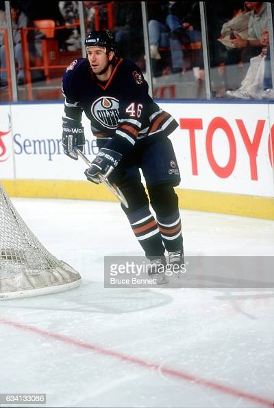 Todd Reirden of the Edmonton Oilers skates on the ice during an NHL game against the Los Angeles Kings on January 9 1999 at the Great Western Forum...